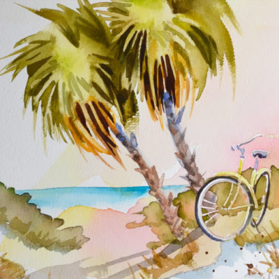beach trek 9 x11 watercolor with bicycle and palm trees