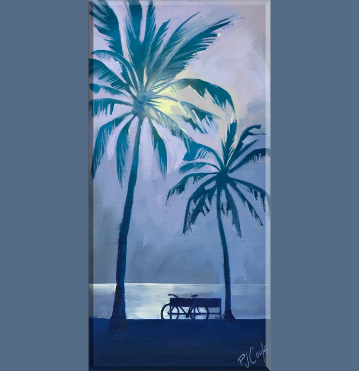 Full moon overlooking the ocean, 6x12 oil on canvas features bicycle and palm trees.