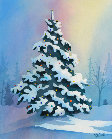 holiday tree winter landscape with snow and evergreen tree with lights 8x10 watercolor painting.
