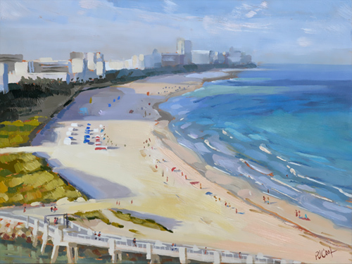 South Beach, Miami 9x12 oil on panel by PJ Cook