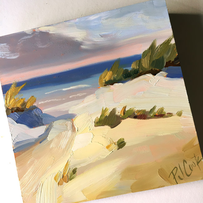 beach dunes oil on panel 4x4 inch allaprima landscape painting