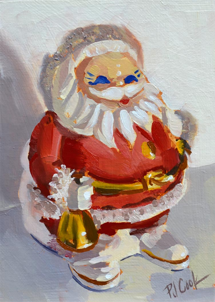 Santa Claus Is Coming, oil on panel, 7x5 inch original Christmas painting.
