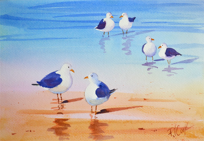 Seagulls standing in the shallows at the beach, 7 x 10 inch original watercolor by PJ Cook.