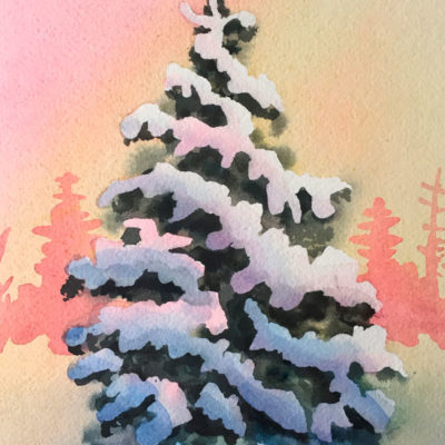 This 9 x 7 watercolor painting is glowing with yellow and reds as this evergreen tree is laden with snow.