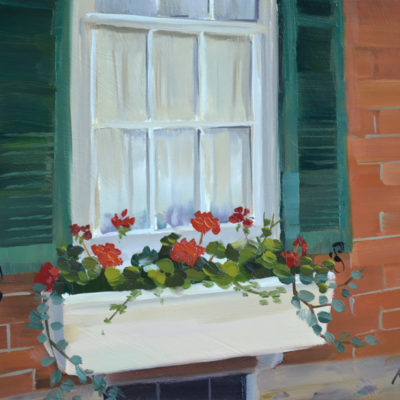 Red Geraniums oil on panel, 8x10.