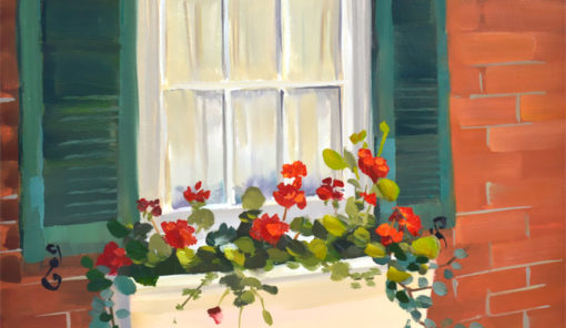 Red Geraniums, 8x10 oil on panel