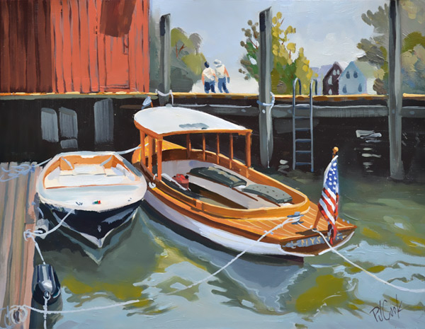 mystic color, 9x12 oil on panel of small boats at a dock