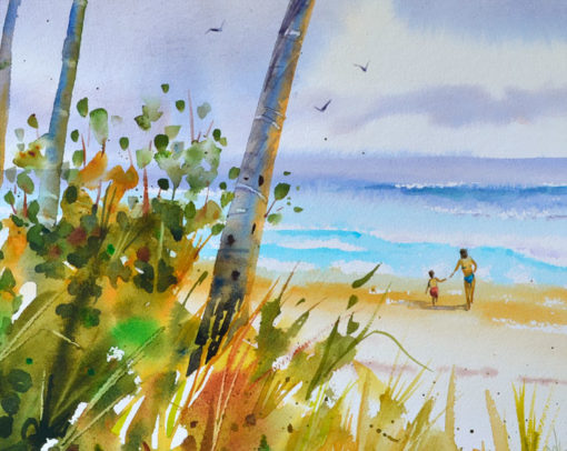 First surf beach scene, 11x14 inch original watercolor, PJ Cook