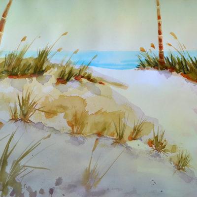 Sand Dune Aglow watercolor 14x20