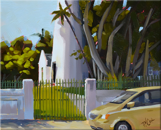 key west lighthouse and keepers quarters 8x10 oil on panel