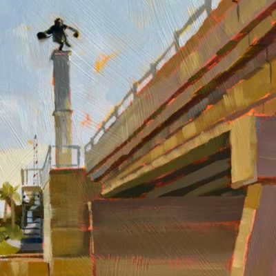 "Barefoot Mailman, statue over Hillsboro Inlet bridge, 8""x 10"" oil on panel, 2017 PJ Cook."