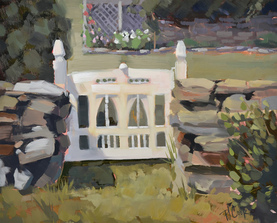 Garden Gate 8x10 oil on board, Maine landscape painting.
