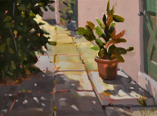 Morning Cactus Spotlight, 9 x 12 oil on canvas