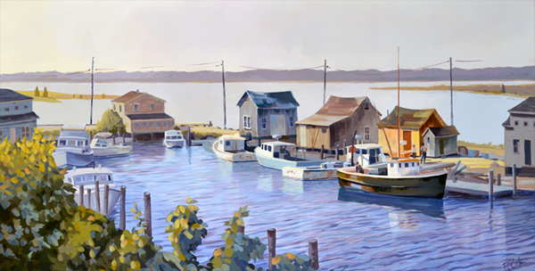 Menemsha Harbor Morning, Martha's Vineyard, MA,20 x 38 oil on canvas