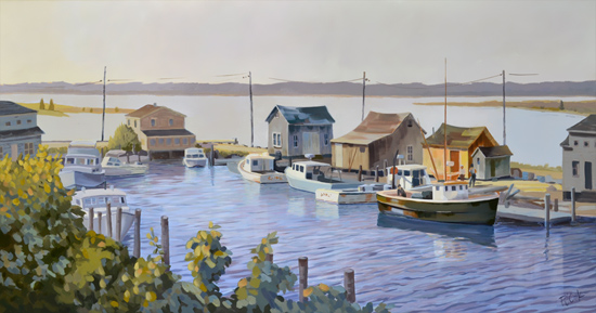 Menemsha Harbor Morning, 20 x 38 oil on canvas