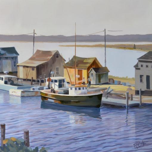 Menemsha Harbor Morning, 20 x 38 oil on canvas