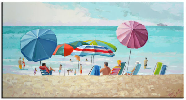 beach umbrellas 12x24 oil on board