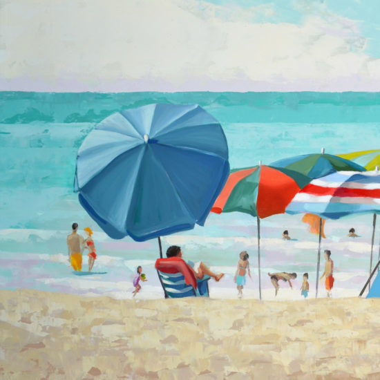 colorful beach umbrellas oil painting 12x20 oil on board.