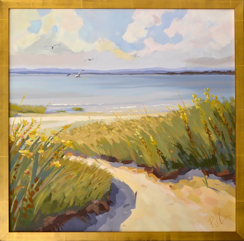 "Dune Escape, 30 x 30"" oil on canvas by artist PJ Cook."