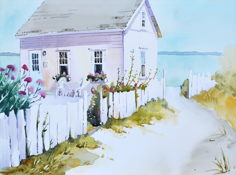 island retreat beach cottage painting, 16x20 watercolor on paper.