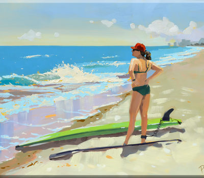 girl on the beach with paddle board, 12 x 16 oil on board PJ Cook.