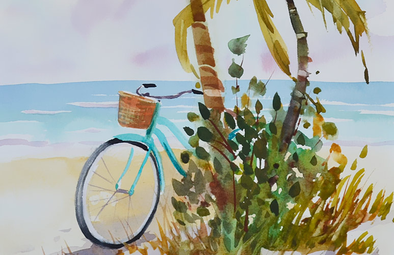 Aqua Afternoon, 14 x 10 watercolor, beach and bicycle painting.