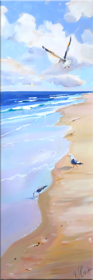 Sand Surf seagulls 10 x 30 oil on canvas original painting by PJ Cook.