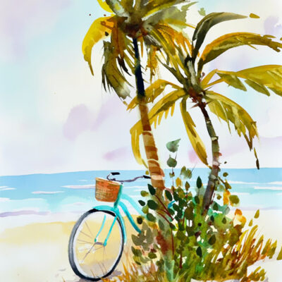 aqua beach cruiser bicycle and palm trees in this beach scene painting.