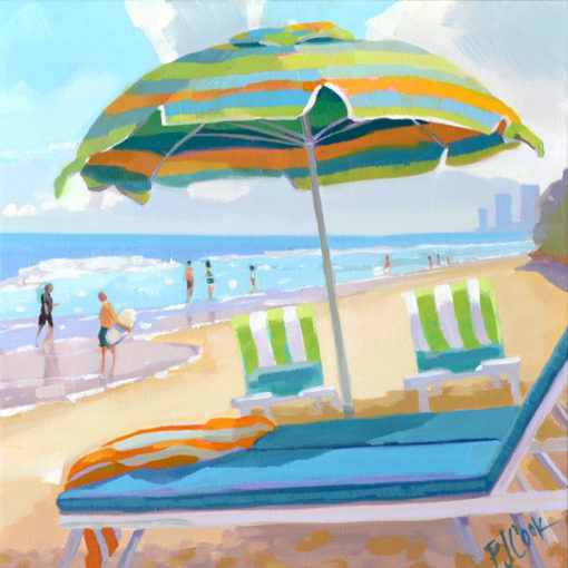 Ocean Side Dip, 12x12 oil on canvas with beach umbrella and chairs near the ocean.