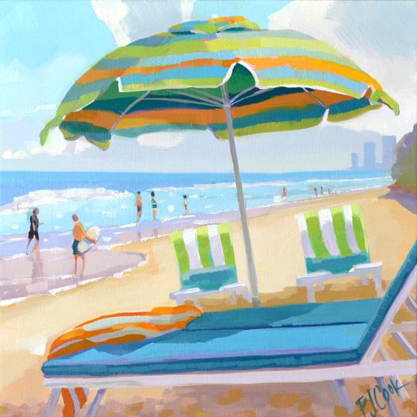 Ocean Side Dip, 12x12 oil on canvas with beach umbrella and chairs near the ocean.