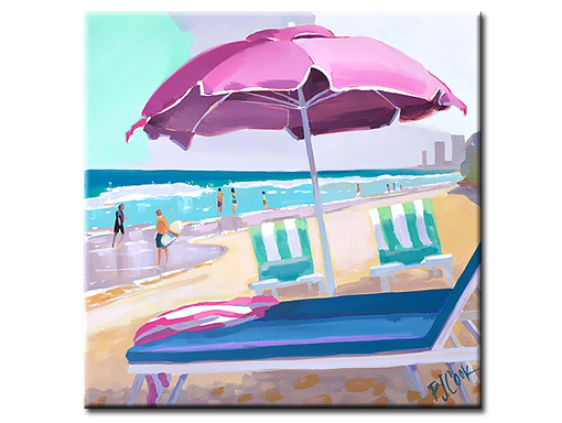 Pink Beach Umbrella, 12 x12 oil on canvas, PJ Cook.