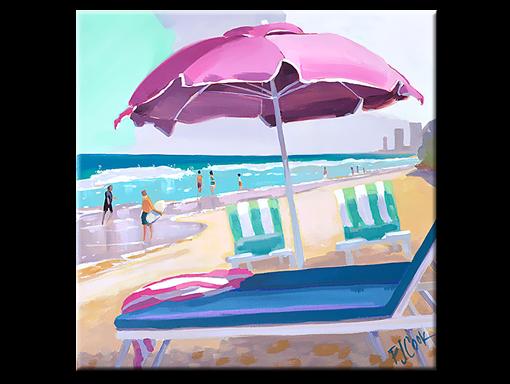 Pink Beach Umbrella, 12 x12 oil on canvas, PJ Cook.