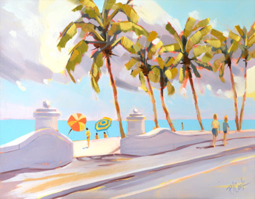 Fort Lauderdale Beach with Palm trees, 11x14 oil painting.