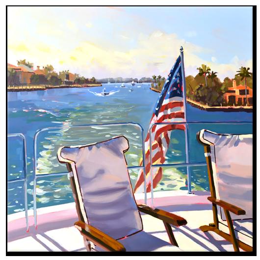 Waterway Vista, 18 x 18 x 2 oil on raised panel by PJ Cook.