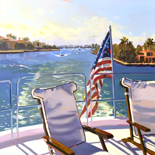 Cruising the Waterway, 18 x 18 x 2 oil on raised panel by PJ Cook.