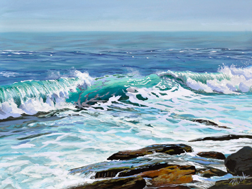 oil painting of a ocean wave breaking.
