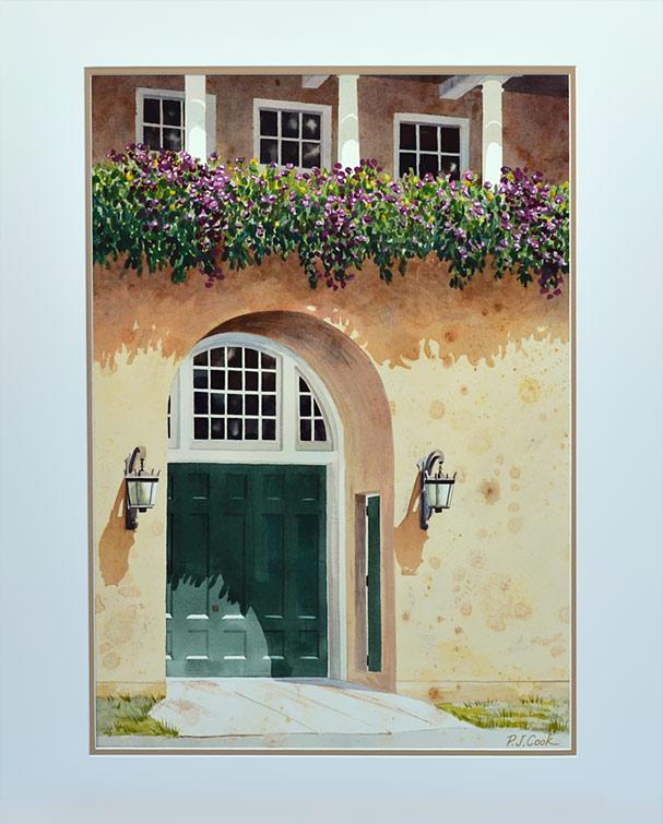 Carraige House Door, watercolor of green door with flowers, PJ Cook.