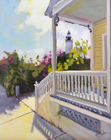 "Key West Lighthouse, 8"" x 10"" oil on panel, PJ Cook."