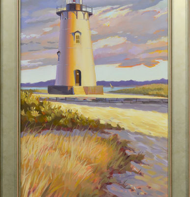 Edgartown Light Martha's Vineyard, oil on canvas, 18 x 36.