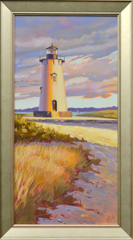 Edgartown Lighthouse Painting Martha's Vineyard, oil on canvas, 18 x 36.