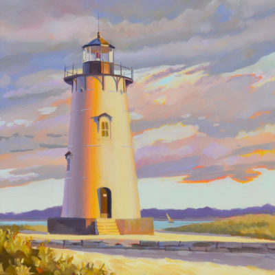 Edgartown Lighthouse Painting, oil on canvas, PJ Cook.