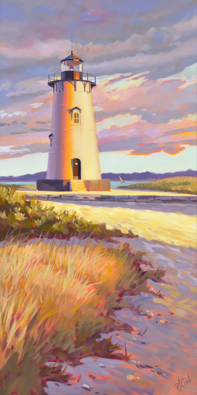 Edgartown Light Marta's Vineyard, oil on canvas, 18 x 36.