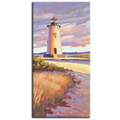 "Edgartown Light, Martha's Vineyard, oil on canvas 18"" x 36""."