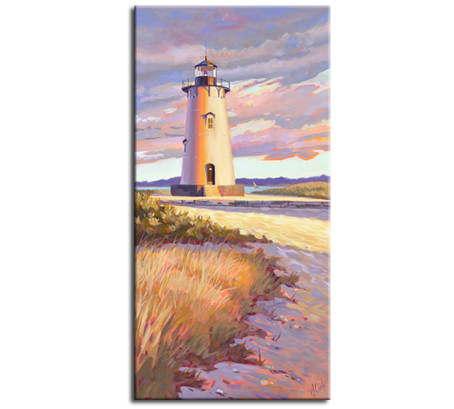 "Edgartown Light, Martha's Vineyard, oil on canvas 18"" x 36""."