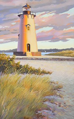 "Edgartown Lighthouse, 18"" x 36"", oil on canvas, ©2021 Pj Cook."