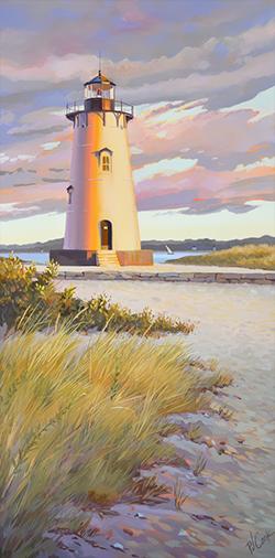 """Edgartown Lighthouse, 18"""" x 36"""", oil on canvas, ©2021 Pj Cook."""