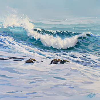 "Pretty wave breaking towards shore, oil painting, 12"" x 12"" ©2020 PJ Cook."