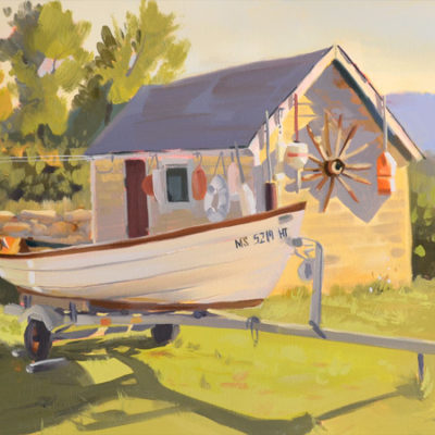 Waterside Collection, 11 x14 oil on canvas Martha's Vineyard small boat and bouy's.