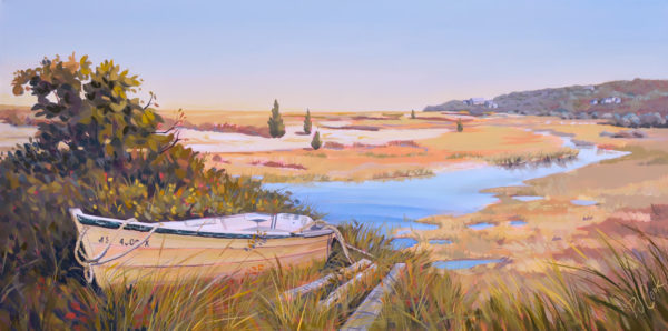 "Vineyard View, 18"" x 36"" oil on canvas, PJ Cook."