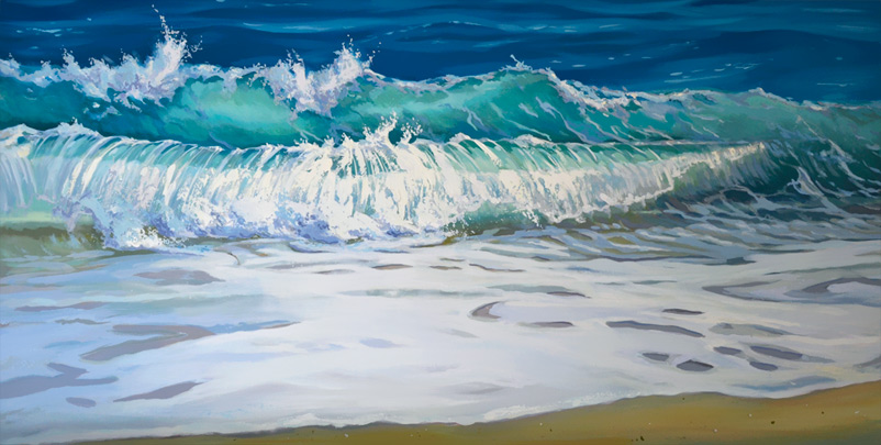 Sitting Still, ocean wave breaking on the sandy beach, oil on board, ©2019 PJ Cook.